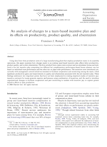 An analysis of changes to a team-based incentive plan and its effects on productivity, pro