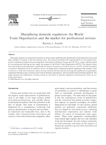 Disciplining domestic regulation: the World Trade Organization and the market for professi