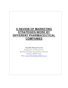 A REVIEW OF MARKETING  STRATEGIES WORK BY DIFFERENT PHARMACEUTICAL  COMPANIES