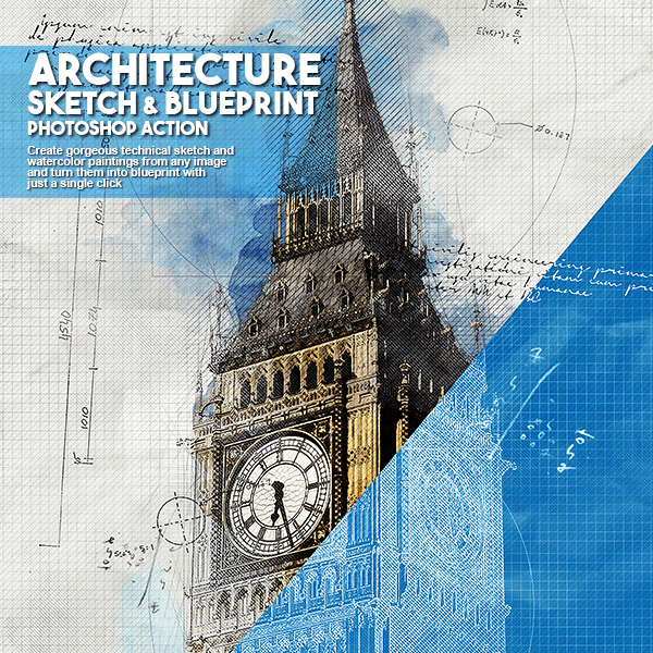 architecture sketch and blueprint