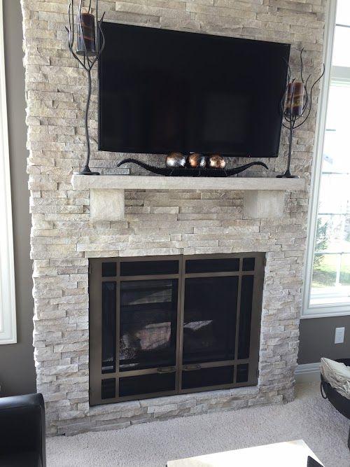 Eldorado Cotton Wood European Ledgestone Fireplace 006