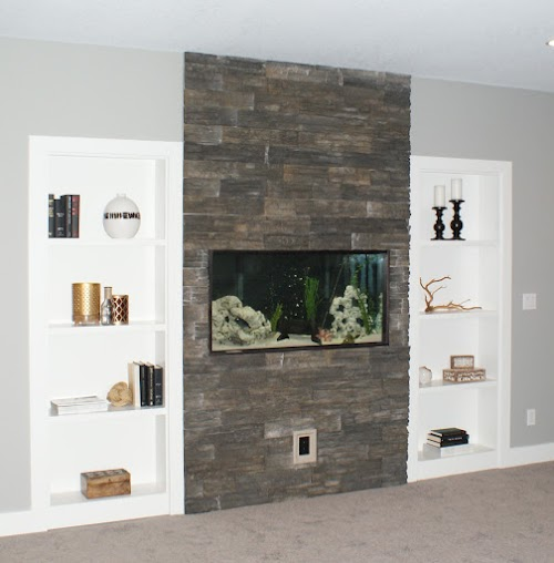 Eldorado Chapel Hill Stacked Stone Fireplace Accent Wall