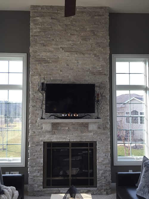 Eldorado Cotton Wood European Ledgestone Fireplace 005