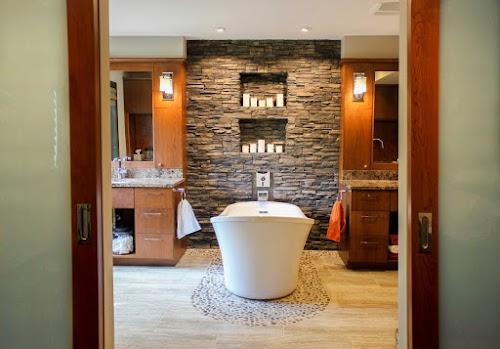 Eldorado Black River Stacked Stone Lori Wiles Bathroom Accent Wall
