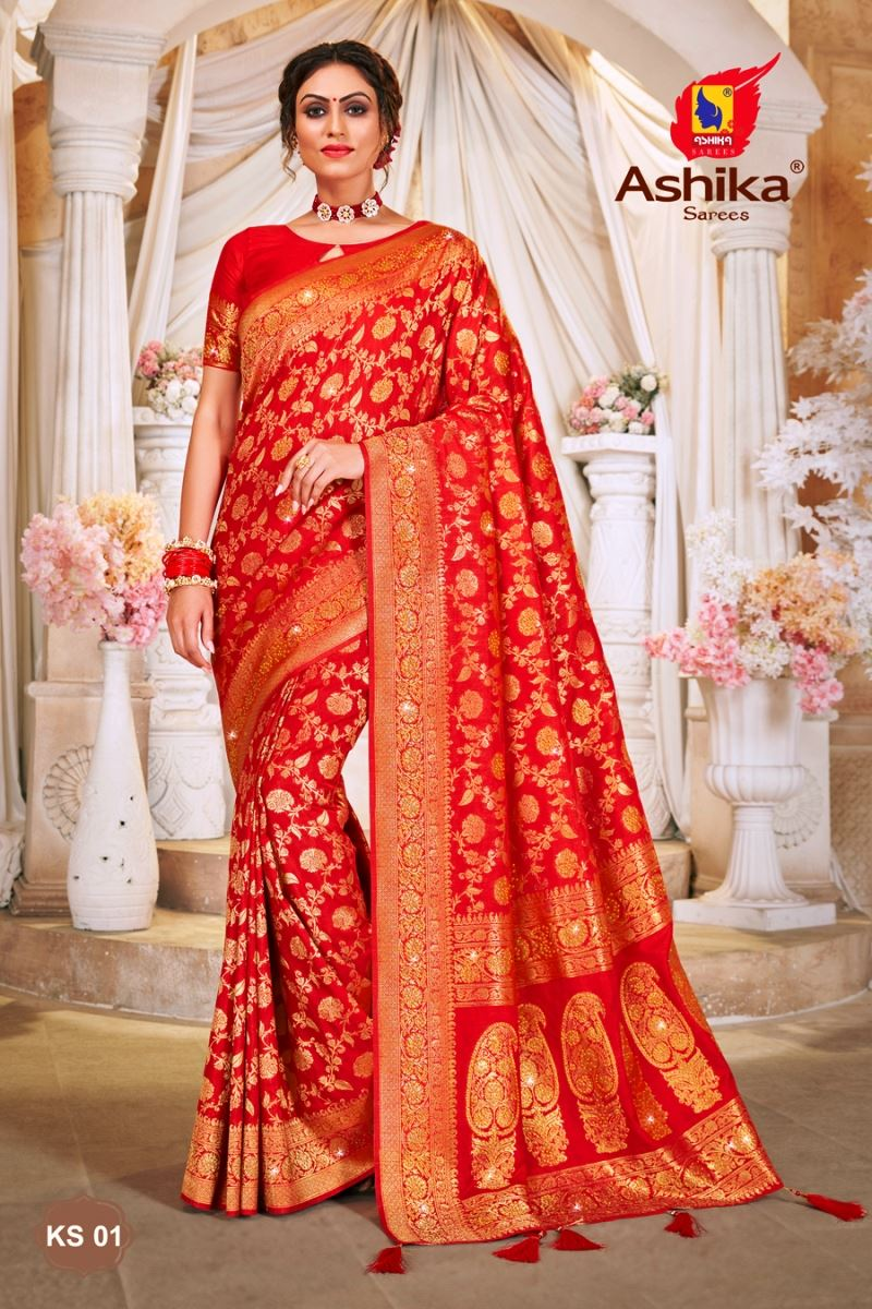 Red Color Art Silk Fabric Stone Work Function Wear Fancy Saree