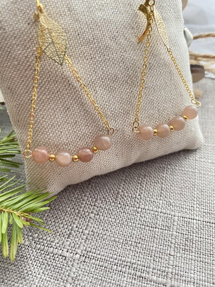 """Boucles d'oreilles """"pendantes"""" en pierre de Soleil"""