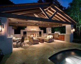 Pool and Outdoor Kitchen Designs House with Farm House Ideas