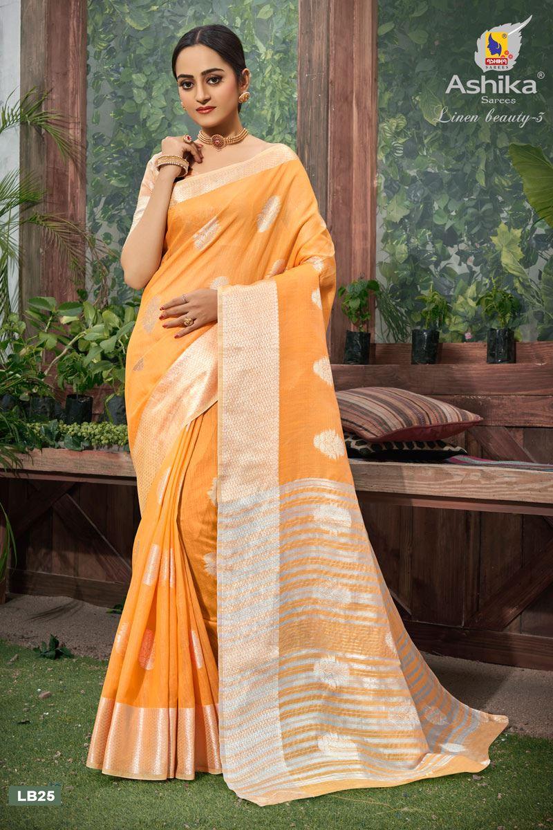 Orange Color Linen Fabric  Casual Zari Work Saree