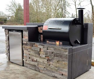 Built in Smoker Outdoor Kitchen Traditional Patio Portland
