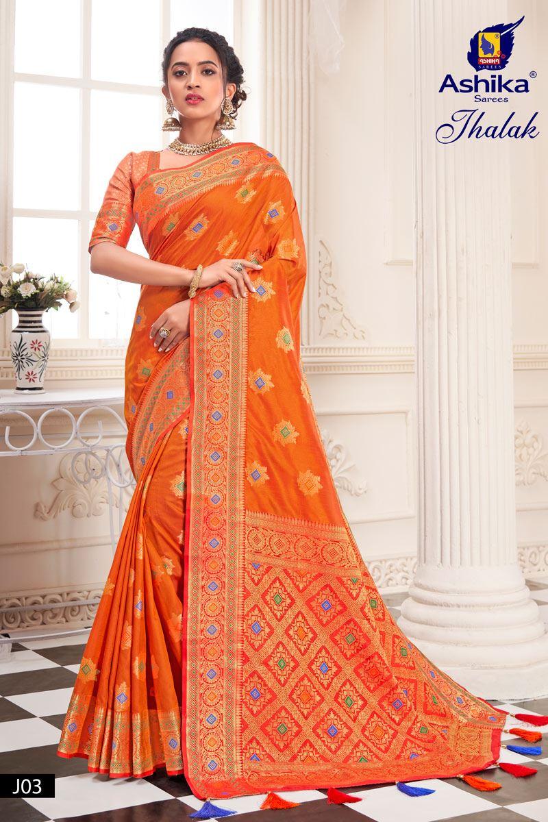 Orange Color Silk Fabric Weaving Work Designer Saree