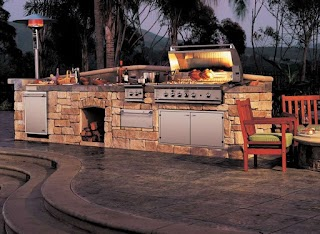 Red Stone Outdoor Kitchen Interesting Bricks Island With