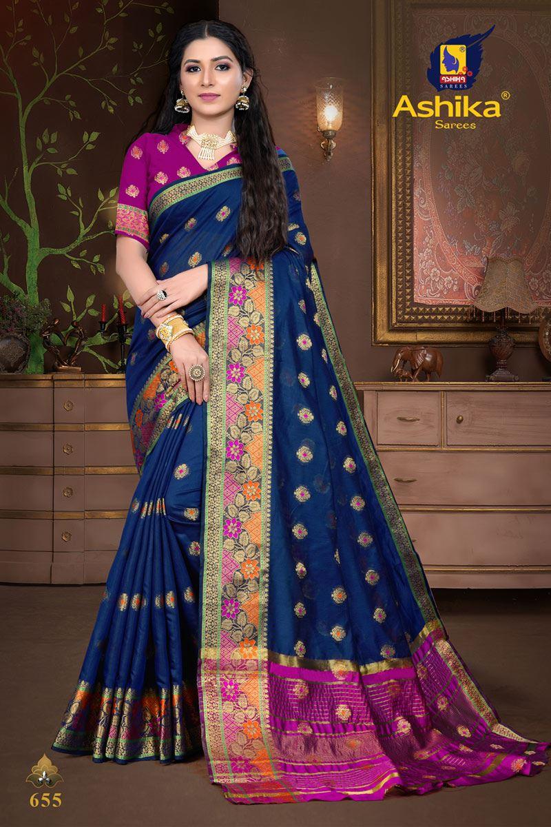 Navy Blue Color Cotton Silk Fabric Weaving Work Wedding Wear Saree