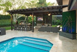 Backyard Designs with Pool and Outdoor Kitchen Pergola Project in South Florida Traditional
