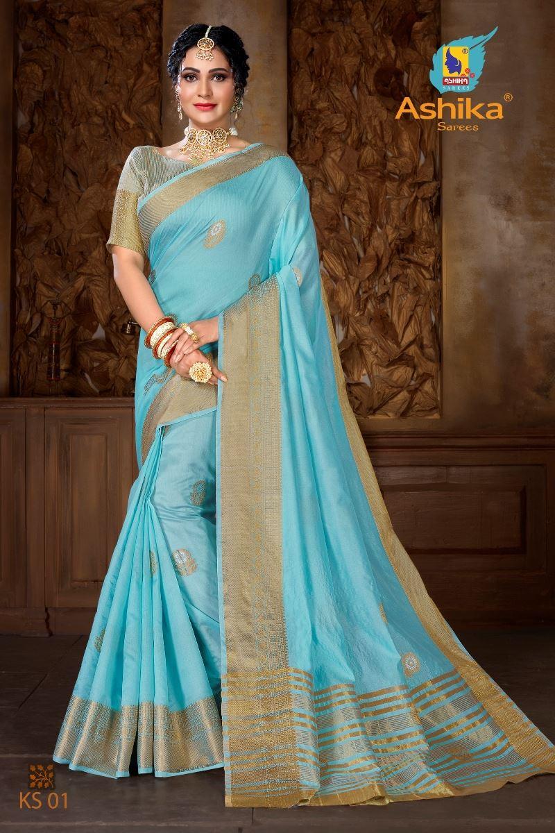 Firoji Colour Soft Mercerised Cotton Silk With Rich Gold And Silver Zari Butta