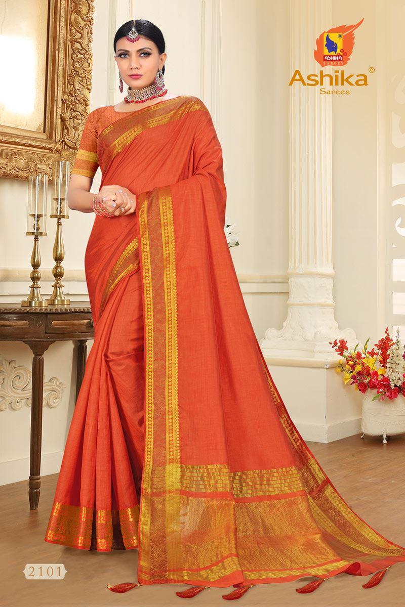 Orange Tussar Silk Fabric Function Wear Fancy Zari Work Saree