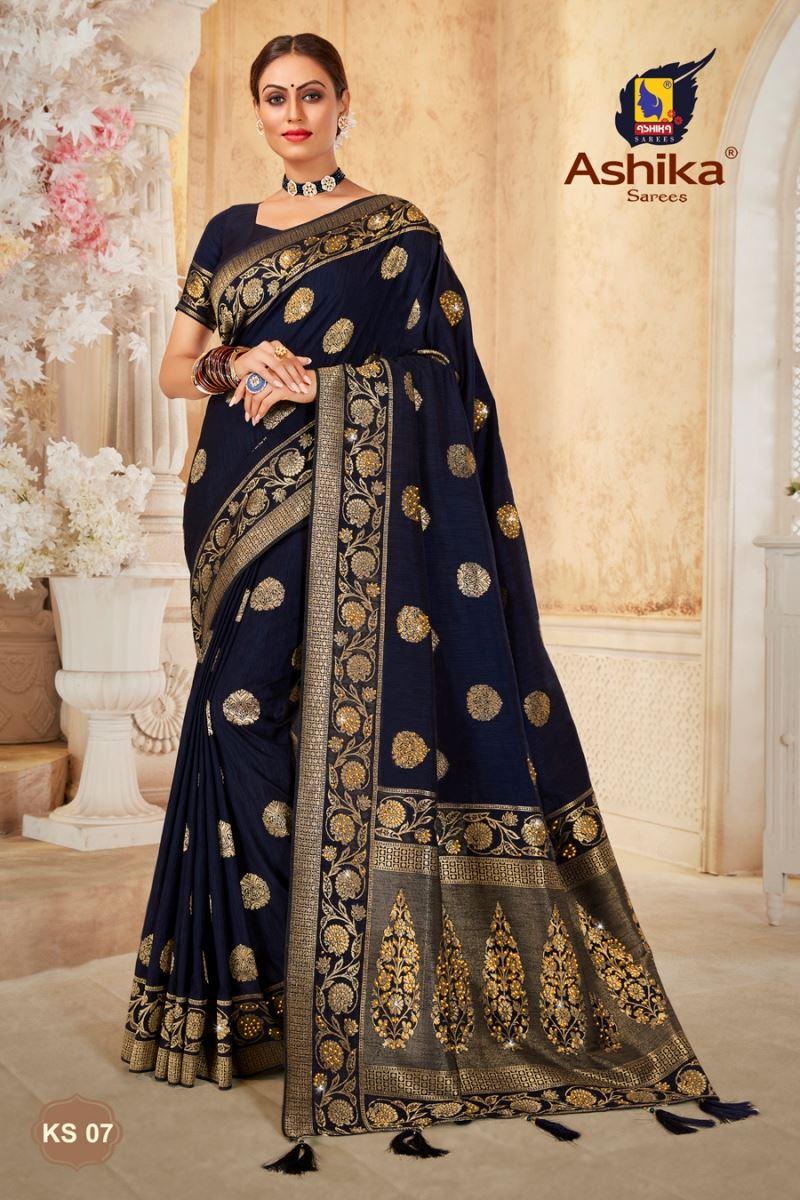 Navy Blue Color Art Silk Fabric Stone Work Wedding Wear Fancy Saree