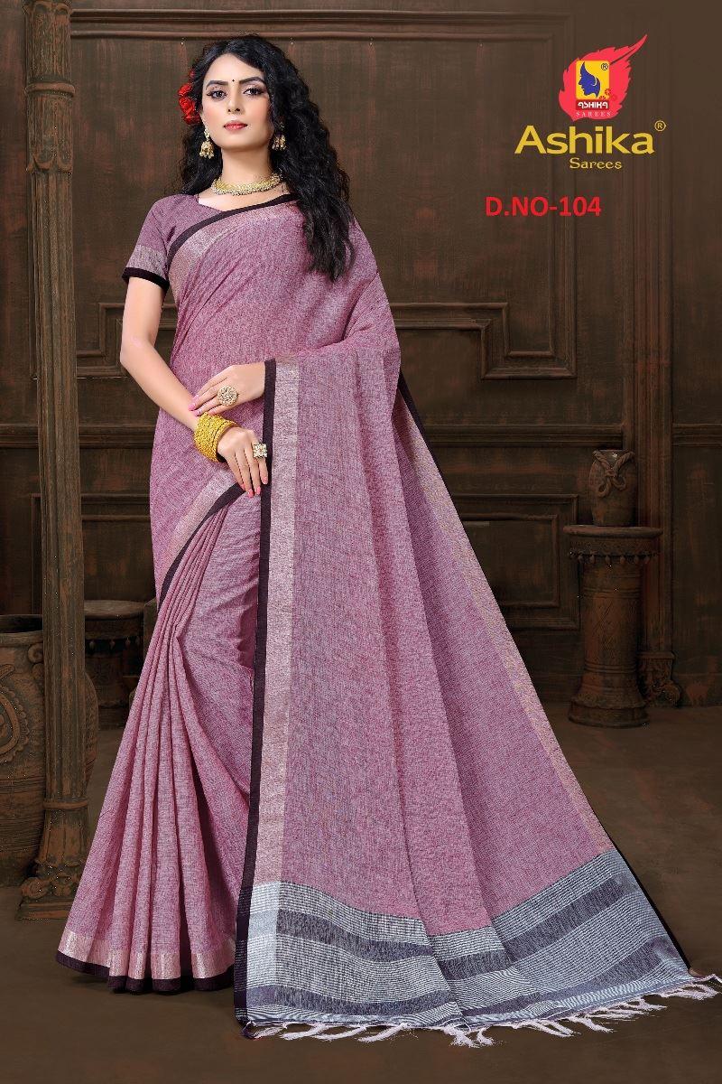 Violet Colour Cotton Linen Saree