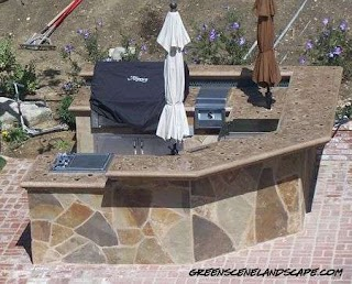 Flagstone Outdoor Kitchen with Poured in Place Polished Concrete