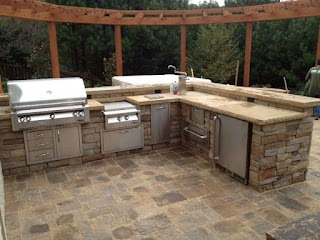 Stone Outdoor Kitchens Stacked Kitchen with Raised Bar In
