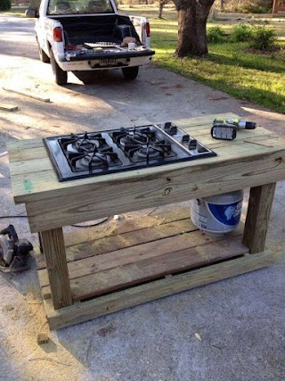 Outdoor Kitchen Stove Cooking in The Garden Lake House Life Summer