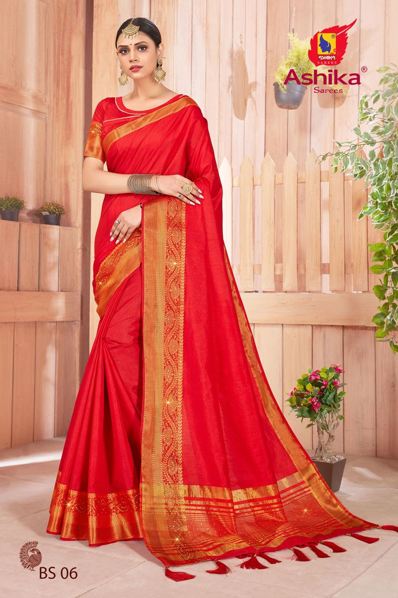 Red Color Art Silk Fabric Stone Work Fancy Saree
