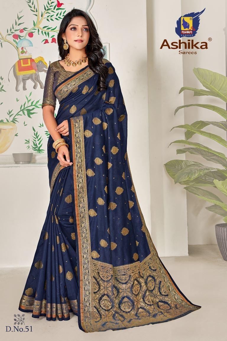 Navy Blue Colour linen Fabric Fancy Saree