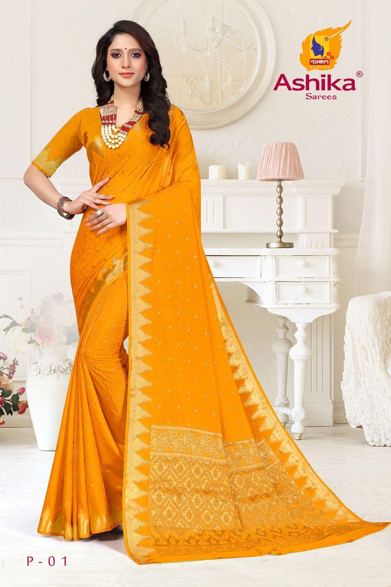 Mustard Color Crepe Fabric Function Wear Weaving Work Saree