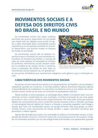 MOVIMENTOS SOCIAIS E DEFESA DOS DIREITOS CIVIS, NO BRASIL CONTEMPORANEO