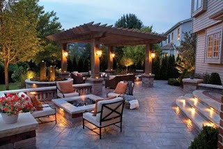 Outdoor Kitchen with Firepit Brecksville Ohio Paver Patio a Fire Pit