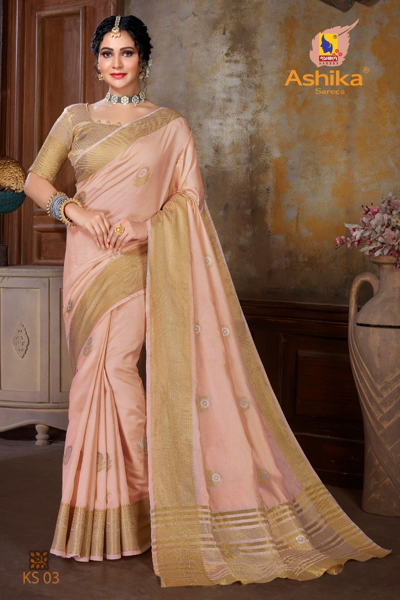 Peach Colour Soft Mercerised Cotton Silk With Rich Gold And Silver Zari Butta