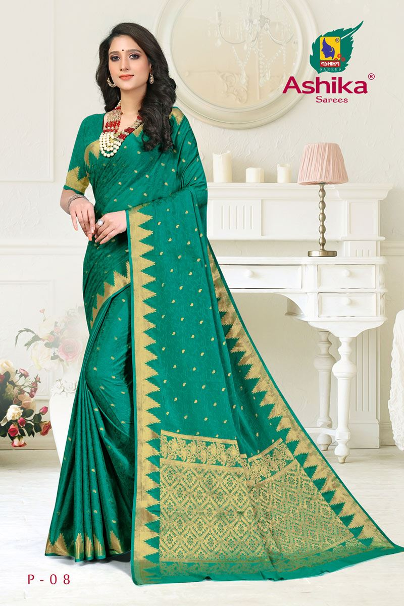 Teal Color Crepe Fabric Function Wear Weaving Work Saree