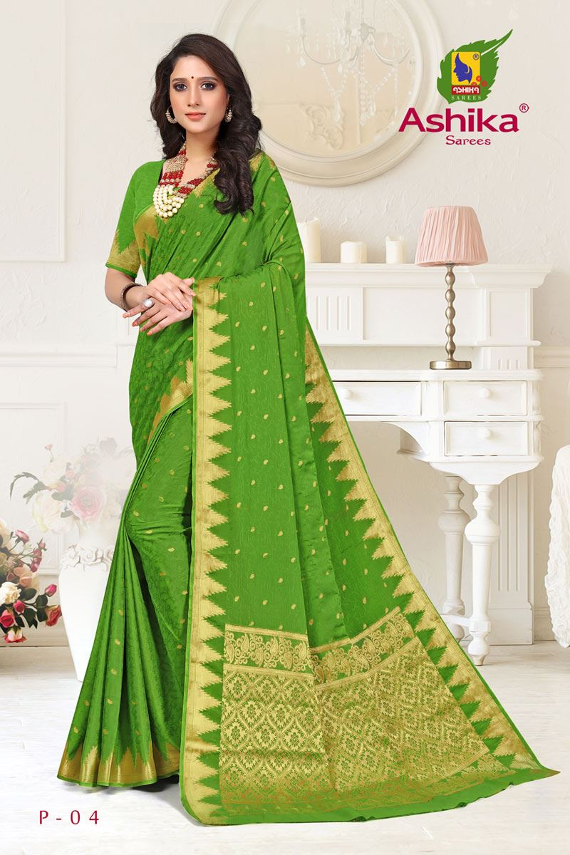 Green Color Crepe Fabric Function Wear Weaving Work Saree