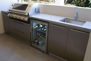 Outdoor Kitchen Benchtops with a Polished Concrete Benchtop Stainless Steel