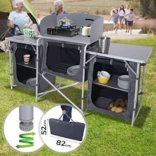 Camping Outdoor Kitchen Miadomodo with Windshield 5 Storage Compartments