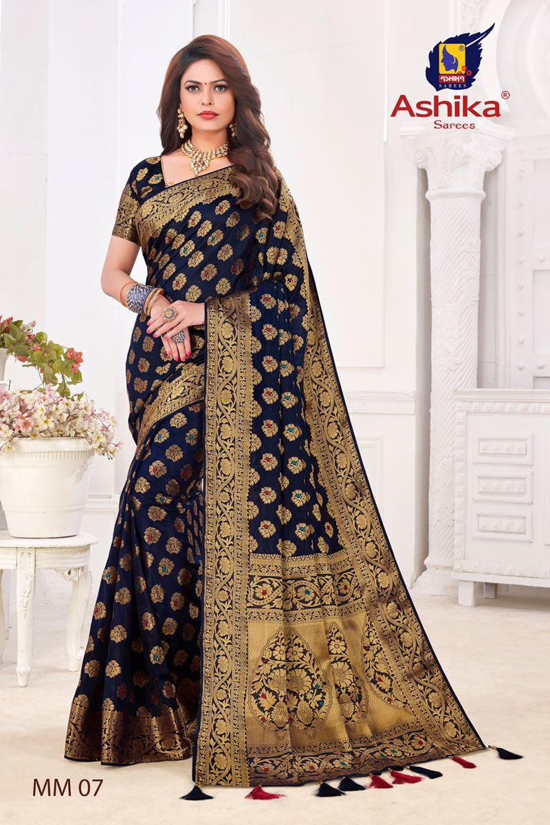 Navy Blue Color Silk Fabric Festive Wear Zari Work Saree