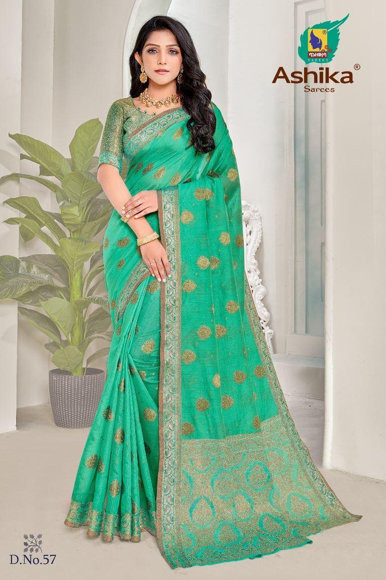 Rama Green Colour linen Fabric Fancy Saree