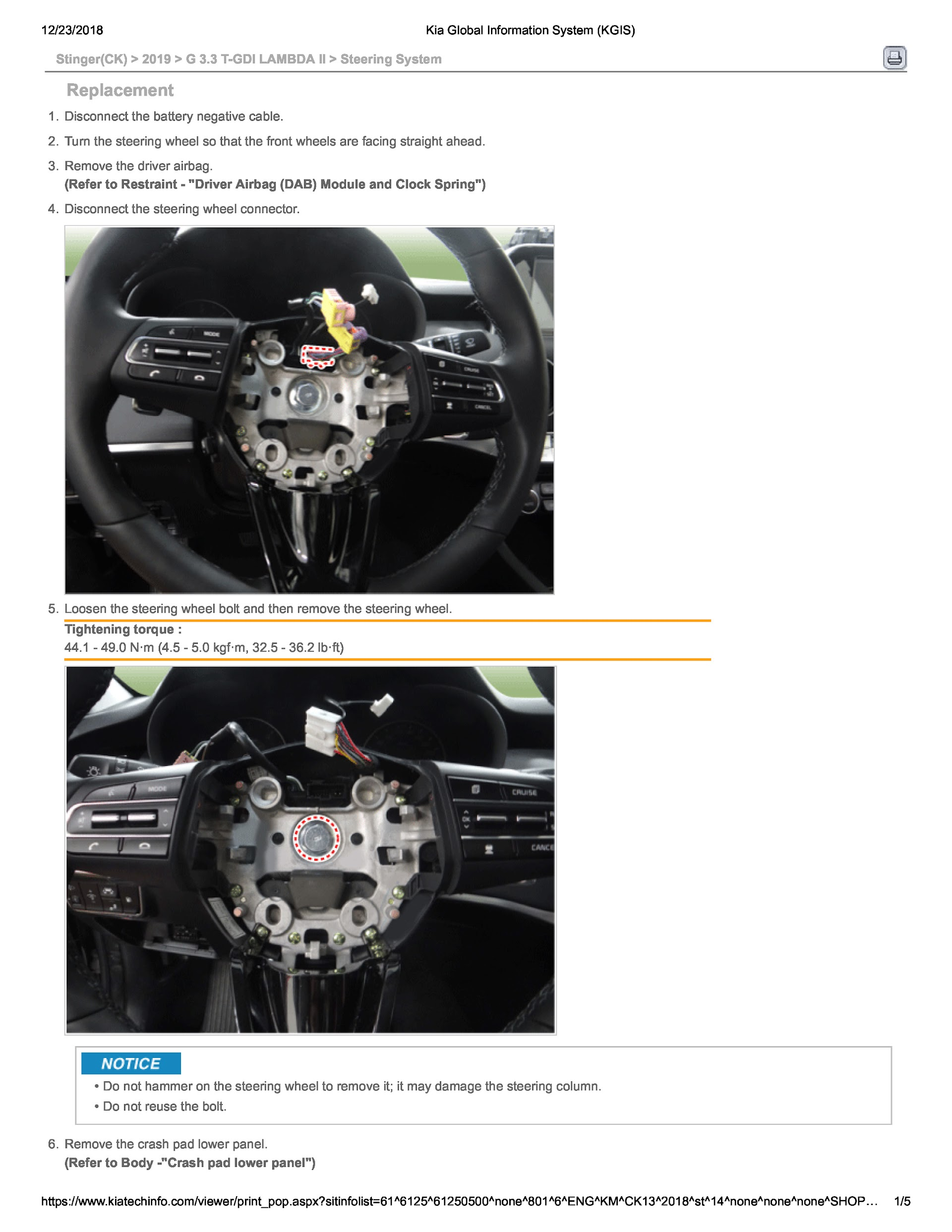 2019 Kia Stinger (CK) Service Repair Manual.