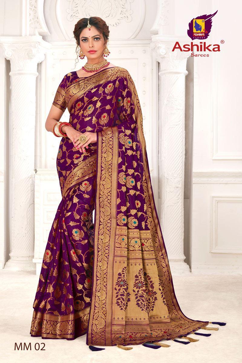 Purple Color Silk Fabric Festive Wear Zari Work Saree
