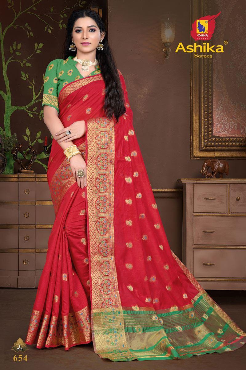 Red Color Cotton Silk Fabric Weaving Work Wedding Wear Saree