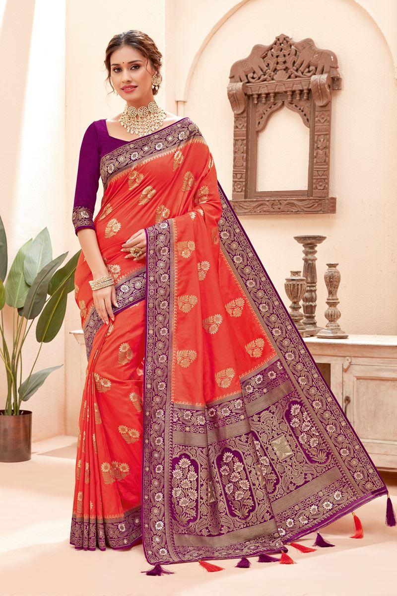 Pink Color Silk Fabric Zari Work Sangeet Wear Fancy Saree