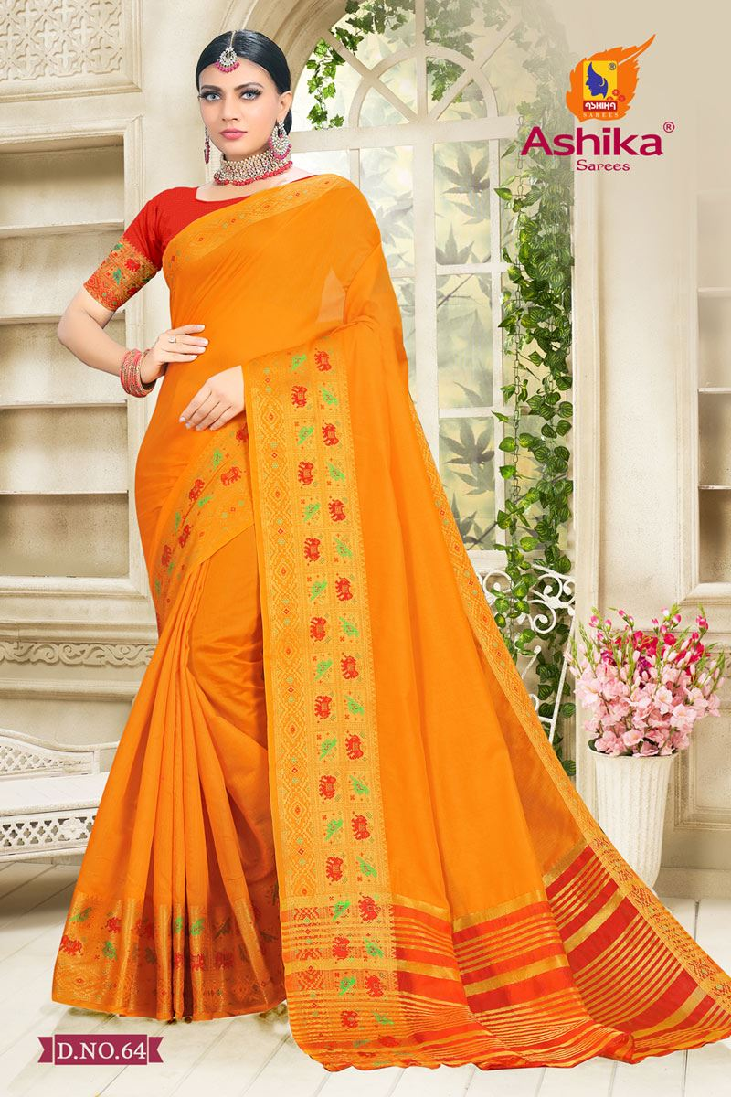 Orange Color Cotton Silk Fabric Reception Wear Border Work Saree