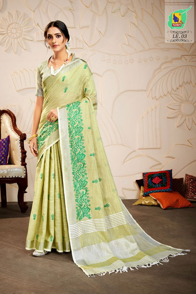 Khaki Color Embroidered Linen Fabric Fancy Saree