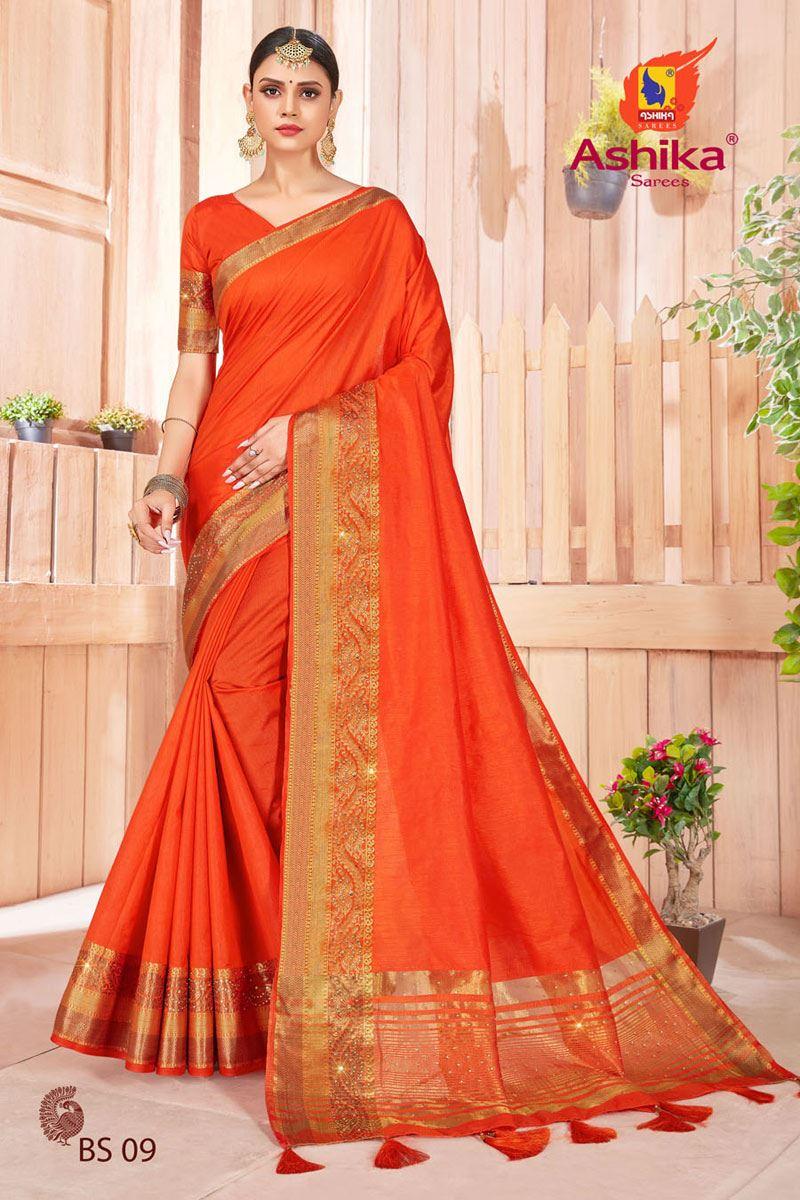 Orange Color Art Silk Fabric Stone Work Fancy Saree