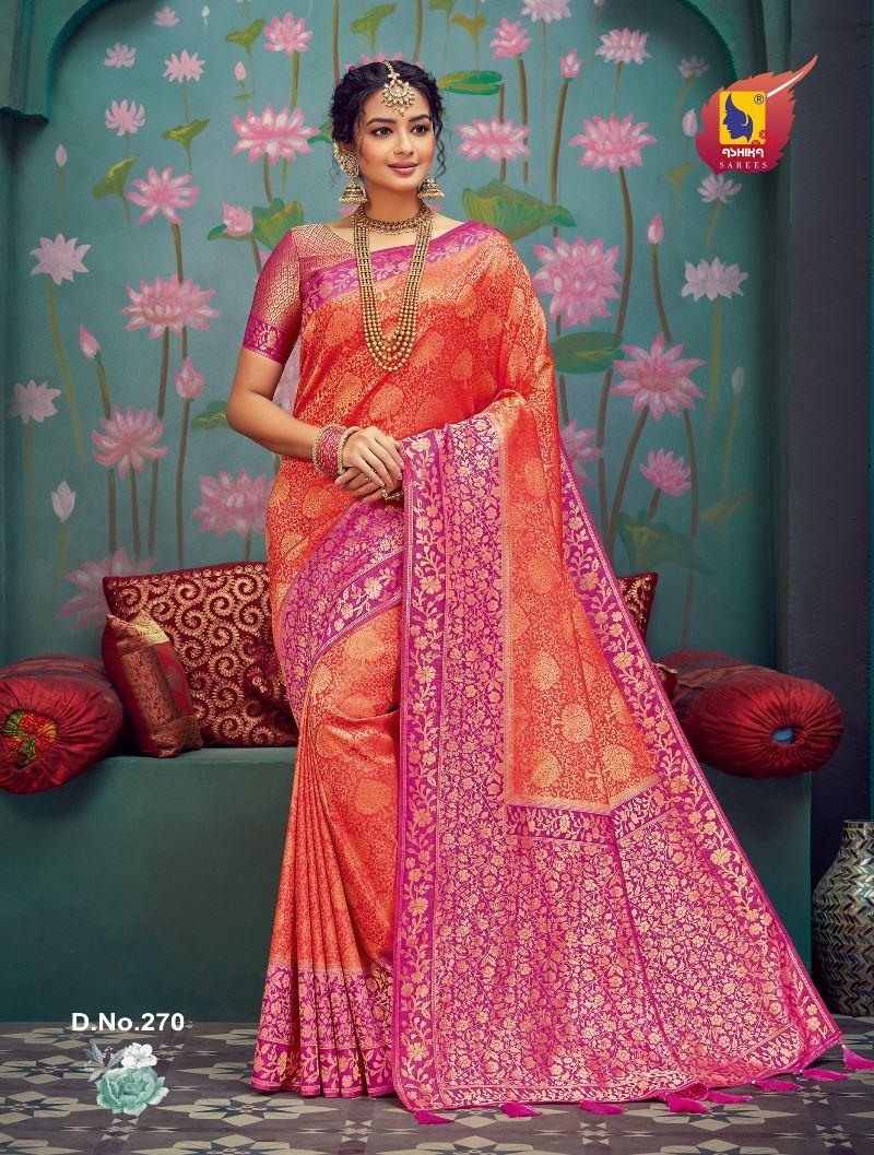 Fanta Color Silk Fabric Zari Work Fancy Saree