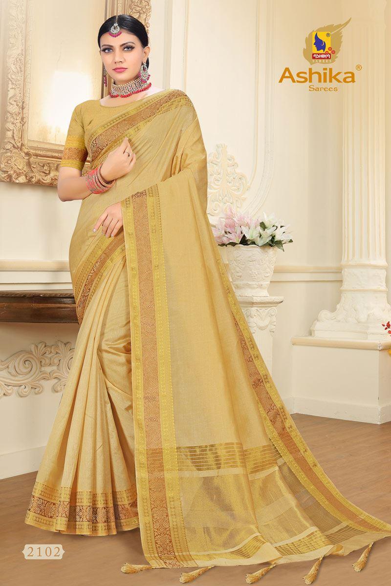 Beige Tussar Silk Fabric Function Wear Fancy Zari Work Saree