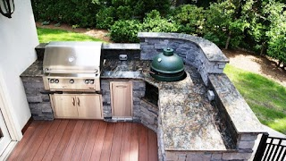 Outdoor Kitchen with Green Egg Photos Custom S Big