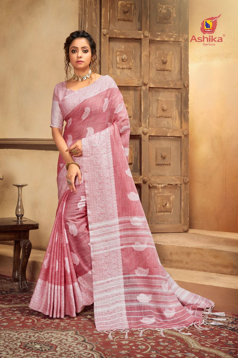 Pink Color Cotton Linen Fabric Stylish Resham Work Saree