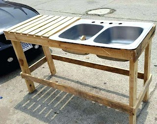 Outdoor Kitchen Sink Plumbing Tables Drain Awesome