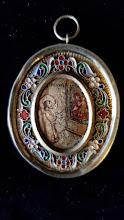Medalion religios din argint cu email