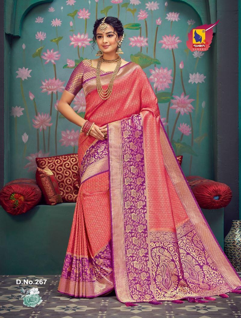Gajri Color Silk Fabric Zari Work Fancy Saree